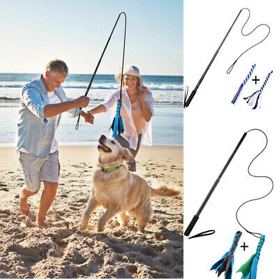 £11.99 • Buy Dogs Flirt Pole Extendable Wand Tug Toy Rope Outdoor Play Fun Interactive Toys