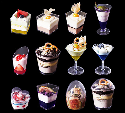 £5.99 • Buy 20/50/100 Plastic Clear Cups Drink Dessert Disposable Canape Dishes Party Cups