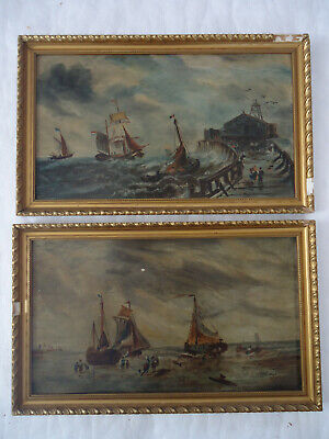 2 19th Century Sea Scape Boats Oil Paintings On Board Essex? • 10.50£