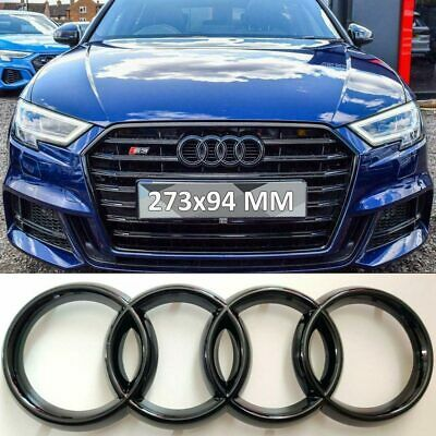 £8.78 • Buy 273*94mm Audi Badge Emblem Rings For A1 A3 A4 A5 A6 Honeycomb Grill Gloss Black