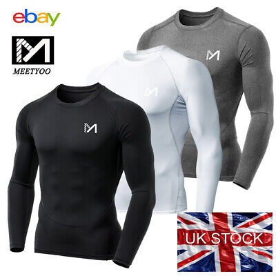 £10.44 • Buy MEETYOO Compression Base Layers PowerLayer Mens Gym Sports Running Skins Tops