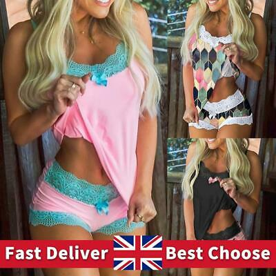 Sexy Womens Pajamas Set Lace Lingerie Underwear Nightwear Cami Vest Shorts Suits • 9.69£