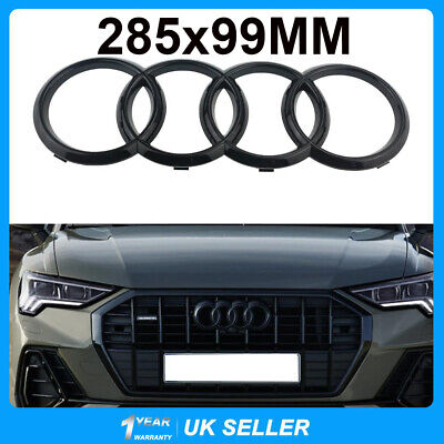 £9.12 • Buy For Audi Front Grille Badge Rings Emblem Gloss Black S6 A6 Q3 Q5 Q7 285x99mm