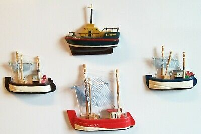 AU4.44 • Buy 4 Miniature Boat Fridge Magnets ~ 3 Fishing Boats, + Lifeboat ~ Excellent Cond.
