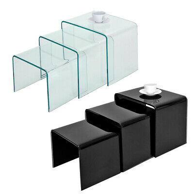 Set Of 3 Glass Nest Of Side Tables For Cafe Coffee Curved Glass Nested Table UK • 79.99£