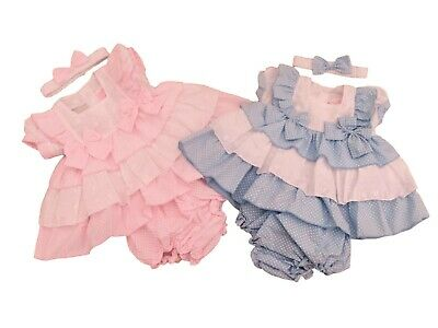 £11.99 • Buy BNWT Baby Girl Spanish Style Romany Frilly Broderie Anglaise Pink Or Blue Dress