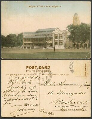 £14.99 • Buy Singapore To Denmark 1913 Old Hand Tinted Postcard Sing Cricket Club Clock Tower