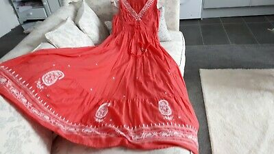 £25 • Buy Monsoon Cotton Maxi Dress Size M/10/12 Coral, Embroidery, Mirrors,tassels, Beads