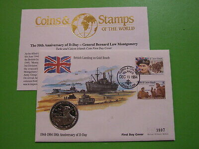 AU3.58 • Buy Bu Coin Cover Turks And Caicos 5 Crowns D-day F.m Montgomery , Gold Beach