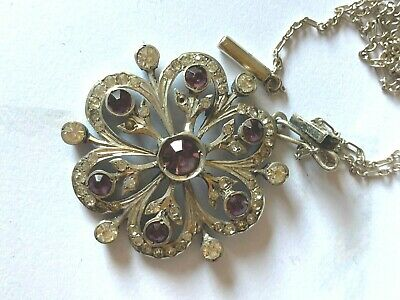 £49.99 • Buy Auth Edwardian 800 Silver Paste Set Ornate Pendant & Chain Necklace Vsw887-1