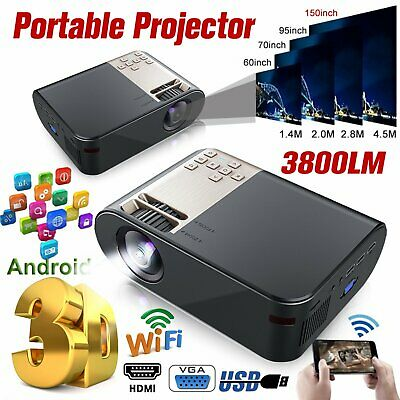 AU102.89 • Buy Portable HD 1080P 3800 Lumens Bluetooth Wifi Video Projector Home Theater HDMI