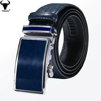 £16.49 • Buy Luxury Blue Genuine Leather Mens Belts Automatic Buckles Waist Straps For Jeans