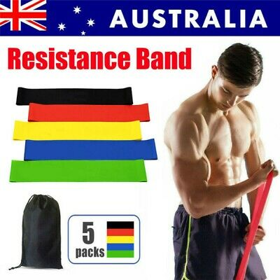 AU10.55 • Buy Set Of 5 Heavy Duty Resistance Band Loop Power Gym Fitness Exercise Yoga Workout