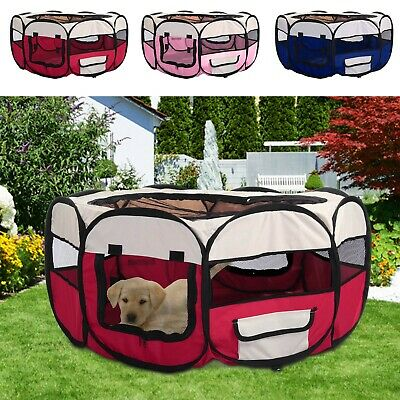 £21.99 • Buy Large Foldable Soft Fabric Dog Crate Cat Cage Pet Travel Puppy Play Pen Tent