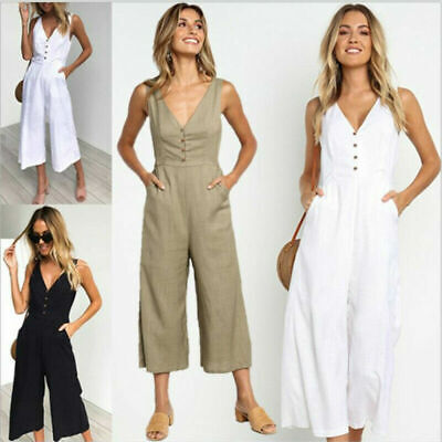 £8.89 • Buy Womens V Neck Romper Pockets Harem Trousers Dungarees Jumpsuit Buttons Playsuits