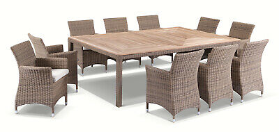 AU3890 • Buy NEW Sahara 10 Seat Outdoor Teak And Wicker Dining Setting Distressed White