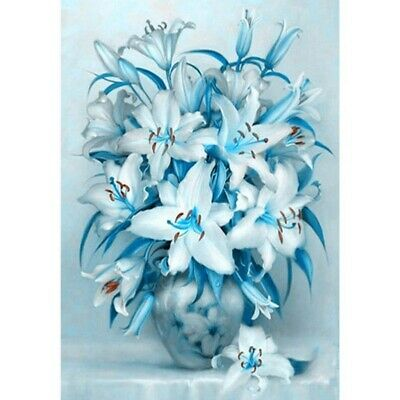 AU16.89 • Buy Round Drill 5D Diamond Painting Embroidery Cross Stitch Blue Lily Kits Art Child