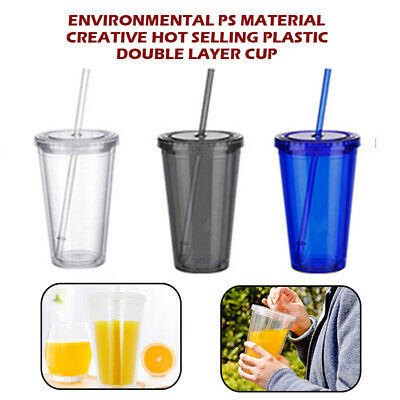 £5.39 • Buy 500ml Double Walled Cup Plastic Clear With Lid And Straw Drinks Insulated New