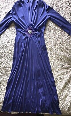 £4.99 • Buy TRINA LEWIS & MARJON COUTURE  Vintage C1970s Evening Gown - UK 14 - Purple