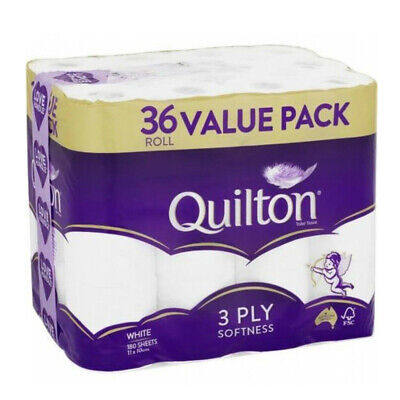 AU29.44 • Buy Quilton Tissue Roll 3ply White 36 Pack Toilet Paper Wipes Bathroom Essential