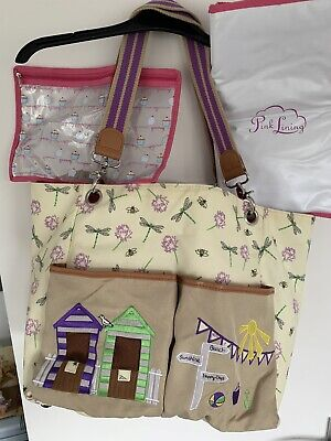 £40 • Buy Pink Lining Yummy Mummy Queensdale Tote Beach Hut, Dragonflies,Bees Changing Bag