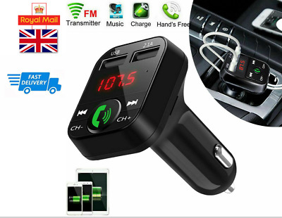 £5.79 • Buy Wireless Bluetooth Car FM Transmitter MP3 Player 2 USB Charger Handsfree Kit