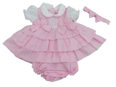 £11.95 • Buy BNWT Baby Girls Spanish Style Summer Pink Gingham Frilly Dress Knickers Set 6-9m