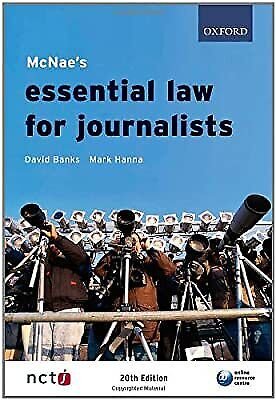 £2.96 • Buy McNaes Essential Law For Journalists, Banks, David & Hanna, Mark, Used; Good Boo