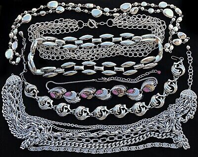 $ CDN0.50 • Buy Lot Of Vintage Silvertone & Silver Plated Chunky Necklaces Multi Strand Jewlery