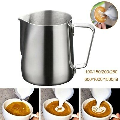 £5.98 • Buy Milk Frothing Jug Frother Metal Pitcher Stainles Steel Coffee Latte Container UK