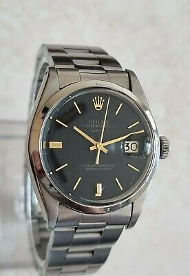 $ CDN3322.66 • Buy Vintage Rolex Oyster Perpetual Date 34mm Charcoal Black Sigma Dial Watch 1968