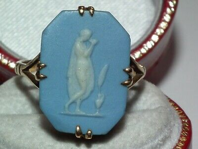£27.10 • Buy Superb Looking, Scarce 9ct Gold Antique C1860 Wedgwood Mounted Cameo Ring