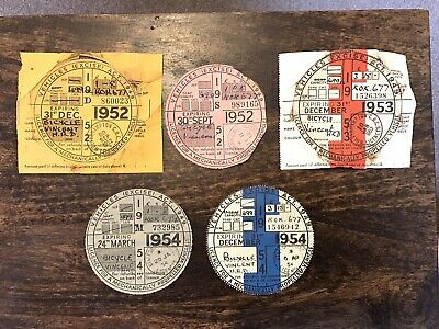 £20 • Buy VINTAGE TAX DISCS, VINCENT HRD MOTORCYCLE X 5
