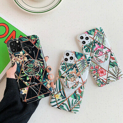 AU10.68 • Buy Geometric Marble Phone Case With Holder For IPhone Xsmax X XR 11 12Mini 8Plus 8