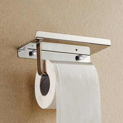 AU24.42 • Buy Bathroom Wall Mounted Toilet Paper Holder Rack Tissue Roll Stand Stainless New .