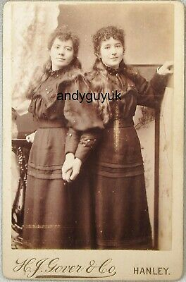 £3.95 • Buy Cabinet Card Ladies Matching Dress Long Hair By Gover Hanley Staffordshire Photo