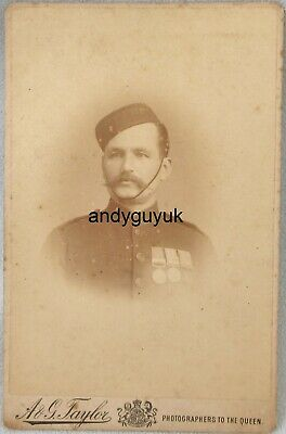 £5.50 • Buy Cabinet Card Soldier Zulu Khedive's Star Medal Military Antique Victorian Photo