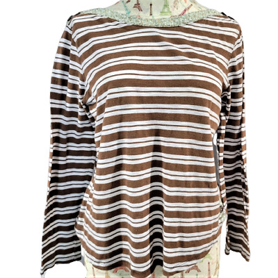 $ CDN24.26 • Buy Anthropologie Postage Stamp Large Brown & White Striped Long Sleeve Blouse