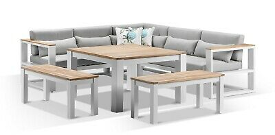 AU4390 • Buy NEW Balmoral Outdoor Aluminium Lounge And Dining Setting - Timber Top   Patio