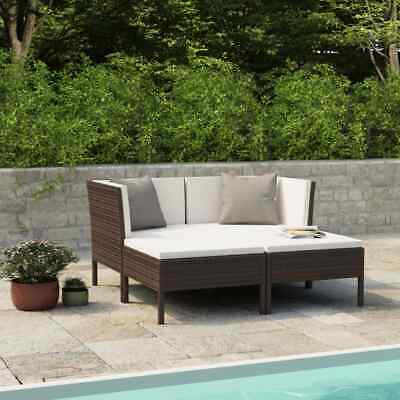 AU346.99 • Buy VidaXL Garden Lounge Set With Cushions 4 Piece Poly Rattan Brown Furniture