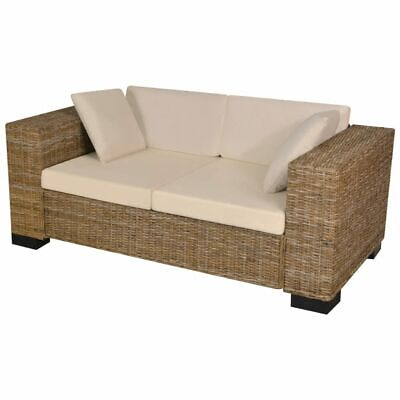 AU459.99 • Buy VidaXL 7 Piece 2-Seater Sofa Set Real Rattan Seat Back Cushion Pillow Couch