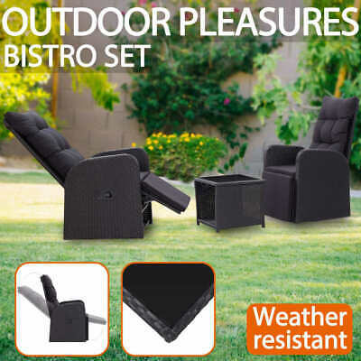 AU506.99 • Buy VidaXL 3 Piece Bistro Set With Cushions Poly Rattan Black Outdoor Furniture