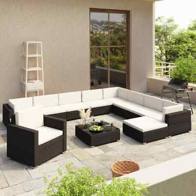 AU1111.99 • Buy VidaXL 12 Piece Garden Lounge Set With Cushions Poly Rattan Black Furniture