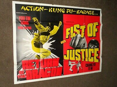 £16 • Buy  Fist Of Justice /Return Of The Dragon  1973 UK Kung Fu Quad Film Poster
