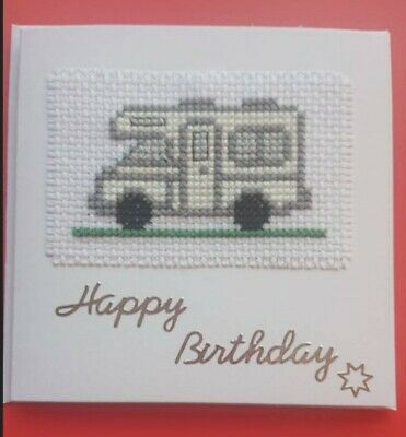 £4 • Buy Motorhome Caravan Birthday Card Cross Stitched