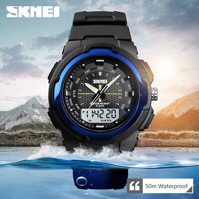 $ CDN12.06 • Buy SKMEI LCD Men's Quartz Sports Wrist Watch 50m Waterproof Double Display 1454 C4