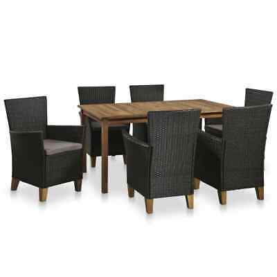 AU727.99 • Buy VidaXL Outdoor Dining Set 13 Piece Poly Rattan And Solid Acacia Wood Furniture