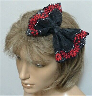 £2.99 • Buy NEW CUTE 80s STYLE 5 In BLACK RED LACE GOTH PARTY FABRIC BOW HANDMADE HAIR HEAD