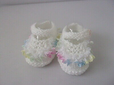 £3.75 • Buy Cute Hand Knit Baby Girls Pram Shoes White With Multi Lace Newborn Reborn
