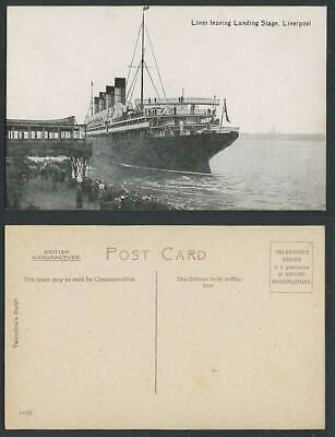 £9.99 • Buy Liverpool, Liner Leaving Landing Stage, Steamer Steam Ship Shipping Old Postcard